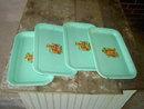 JADE GREEN SNACK TRAY SERVING PLATE KITCHEN UTENSIL FRUIT DECAL PLATTER