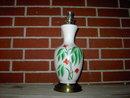 WHITE GLASS LAMP DRESSER LIGHT PAINTED GREEN RED FLOWER