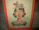OLD MAID LADY FOUR EYES OFFICE PICTURE FRAMED CARTOON PRINT