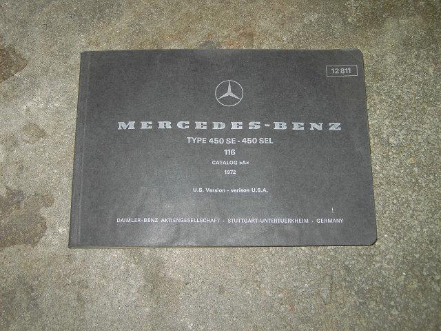 MERCEDES BENZ CATALOG 1972 OWNERSHIP MANUAL PARTS SERVICE BOOKLET