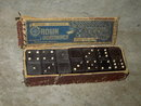 CROWN EMBOSSING COMPANY DOMINOES VICTORIAN ERA TOY WOOD DOMINO TILE GAME