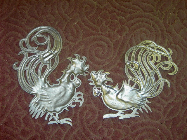 ROOSTER CHICKEN BIRD RETRO WALL DECORATION CAST ALUMINUM METAL PLAQUE SEXTON USA