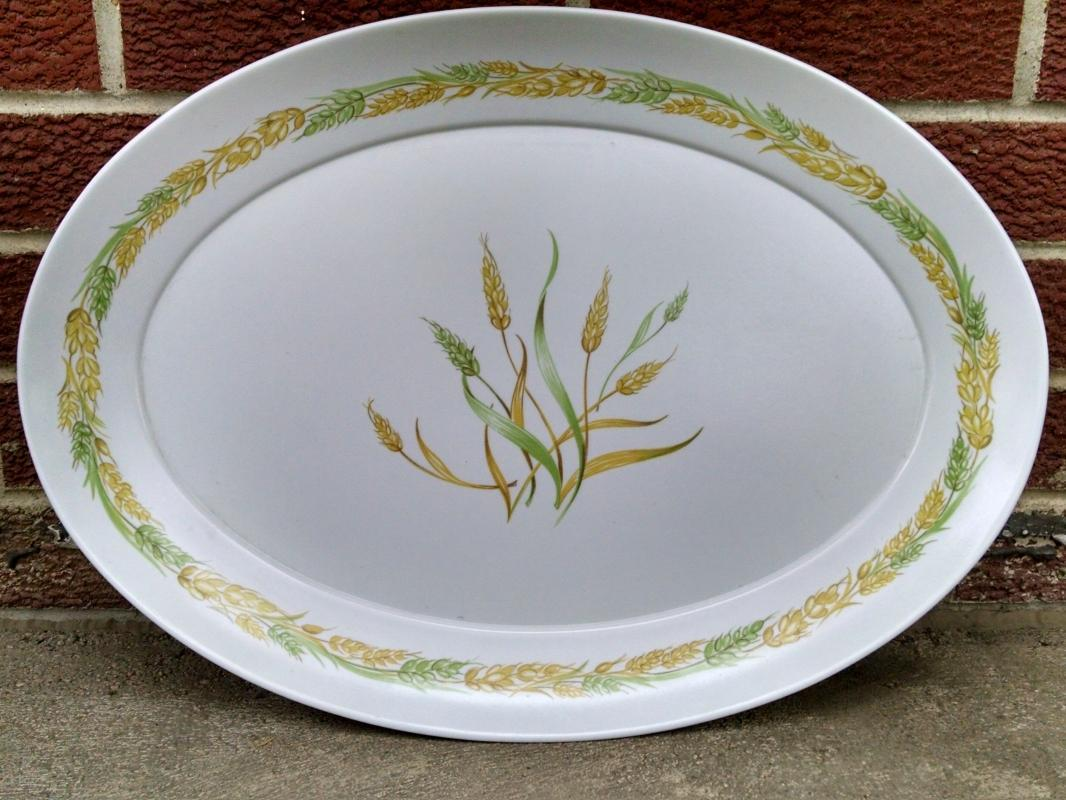 brookpark melmac turkey meat platter vegetable serving tray retro wheat pattern dish