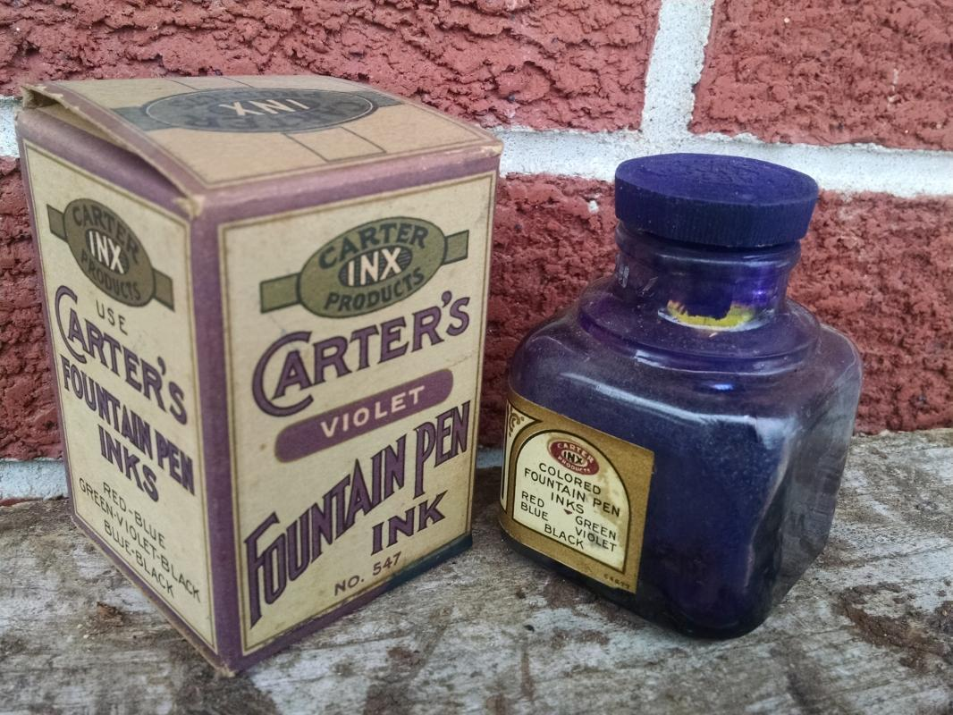 Carter's Violet fountain pen ink bottle Carter inx product colorful advertising original cardboard box