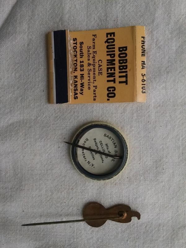 CASE THRESHING MACHINE PIN RACINE WISCONSIN CELLULOID BUTTON BOBBITT STOCKTON KANSAS MATCHBOOK COVER FARM IMPLEMENT RANCH COLLECTIBLE