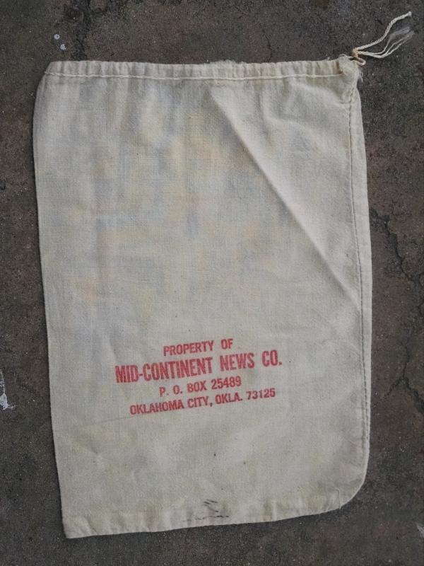 OKLAHOMA CITY MID CONTINENT NEWS BAG COTTON NEWSPAPER MAGAZINE SACK PRINT BUSINESS ACCESSORY
