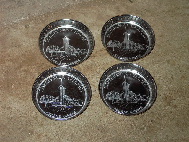 ABILENE KANSAS BEVERAGE DRINK COASTER EISENHOWER CHAPEL BAR LOUNGE UTENSIL SET