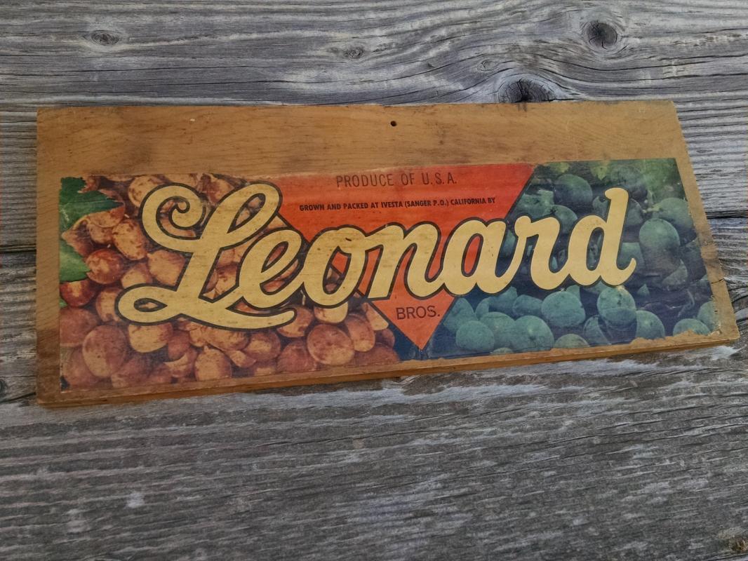 LEONARD BROTHERS CALIFORNIA GRAPE FRUIT CRATE LABEL IVESTA SANGER ADVERTISING PRODUCE BOARD WALL DECORATION