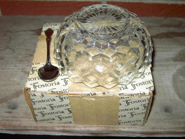 AMERICAN FOSTORIA RELISH BOWL DIVIDED DISH ONEIDACRAFT SERVER SPOON ORIGINAL STORE BOX