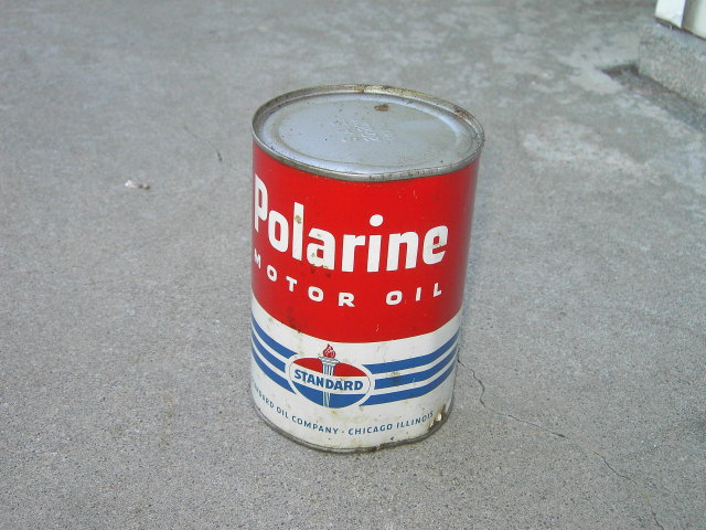 POLARINE STANDARD MOTOR OIL CAN PAINTED STEEL ADVERTISING CANISTER