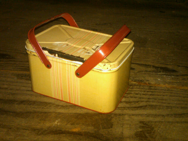 CHILDS TIN LUNCH BOX PICNIC PAIL FOOD CARRY TOTE
