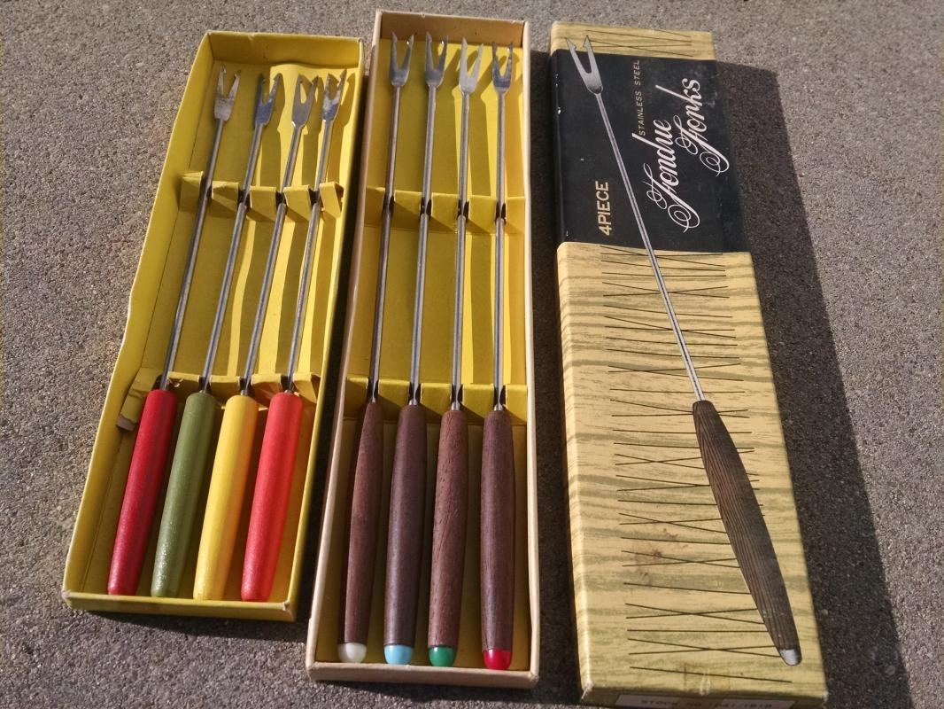 fondue fork retro kitchen utensil sets stainless steel cooking tool color tone walnut wood handle Japan stainless steel original gift box