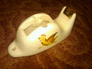 RUNNING ROOSTER CHASING HEN CHICKEN GLAZED POTTERY TAPE DISPENSER WALL DECORATION