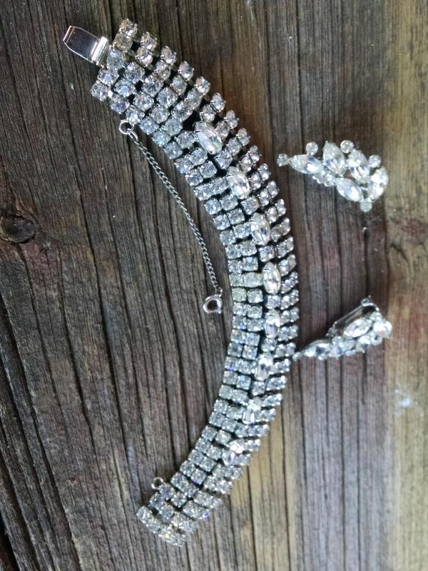 Weiss bracelet Rhinestone clip style earrings 1950's jewelry fashion accessories