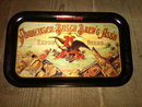 BUDWEISER ANHEUSER BUSCH BREWING ASSOCIATION BEER BEVERAGE SERVING TRAY STEEL SOUTH SEAS ADVERTISING PLATTER