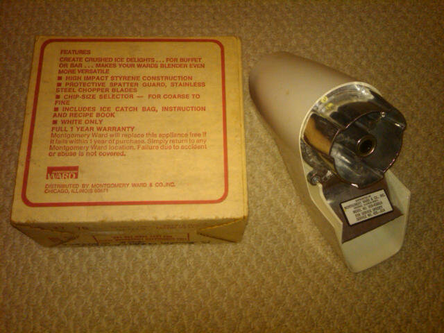 MONTGOMERY WARD ICE CRUSHER BLENDER ATTACHMENT KITCHEN APPLIANCE TOOL CHICAGO ILLINOIS ORIGINAL BOX