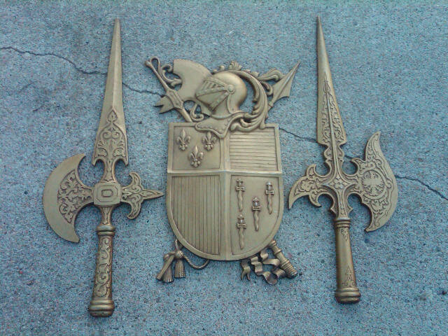 Sexton Medievil Wall Plaque Decorative Symbol Knight Shield Sword Axe Cast Aluminum Ornament