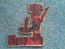RED BLACK LETTER L HIGH SCHOOL VARSITY JACKET PATCH SWIMMER DIVER SPORT GARMENT DECORATION