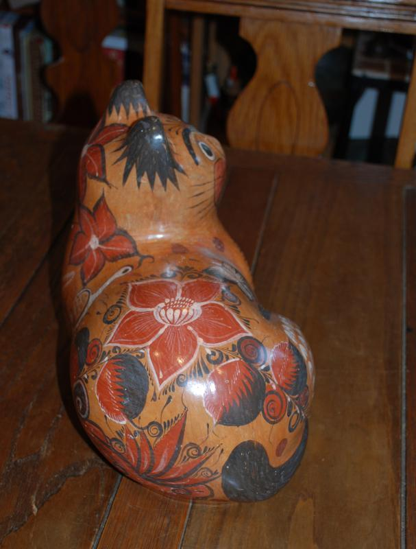 Large Mexican Tonal'a Burnished Pottery Cat, Hand Crafted &  Painted