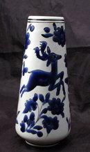 White Porcelain  Vase with Cobalt Blue Enameling  Deer and Flowers,  Marked Dakas Rodos