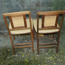 2 Vintage Retro Mid Century Wood Cane Back Vinyl Padded Stakmore  Folding Chairs