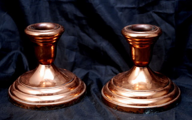 Copper  Candle Stick Holders F.B. Rogers Silverplate Japan