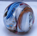 Beautiful  Multi colored Swirl large Paperweight, Signed by Robert Hamon.