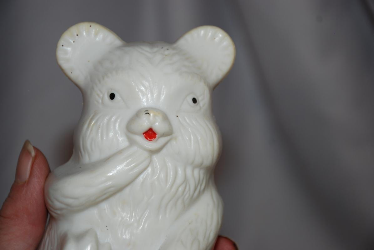 Rolly Poly Wobble Chime Bear Toy, White Plastic, Vintage
