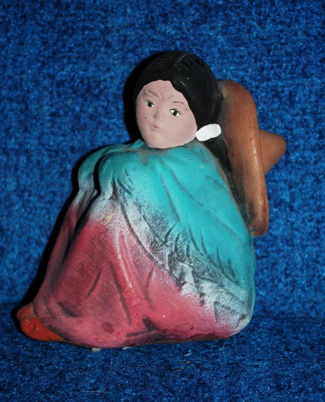 Ceramic Bisque Lady, Girl Seated, hand  crafted  & painted ,