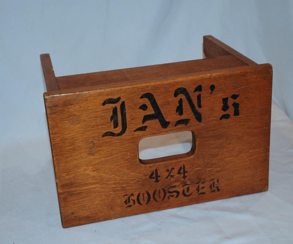 Old Oak Step Stool ,  Booster  Stool with Pyrography Lettering