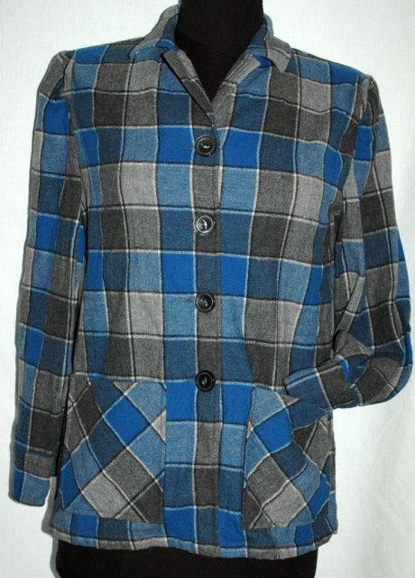 Pendleton 49'er Jacket Wool Plaid Blue, Gray  Petite   **PRICE REDUCED**!