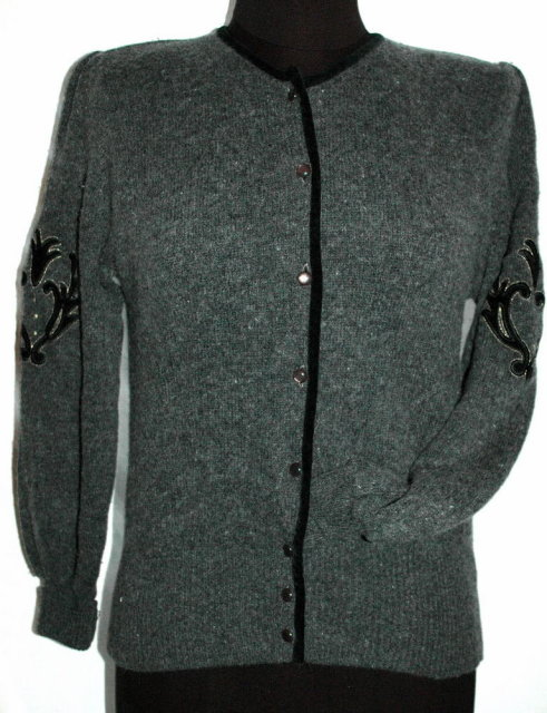 Vintage  Simone Wool Cardigan Sweater, Grey with Black Velvet  Trim & Applique