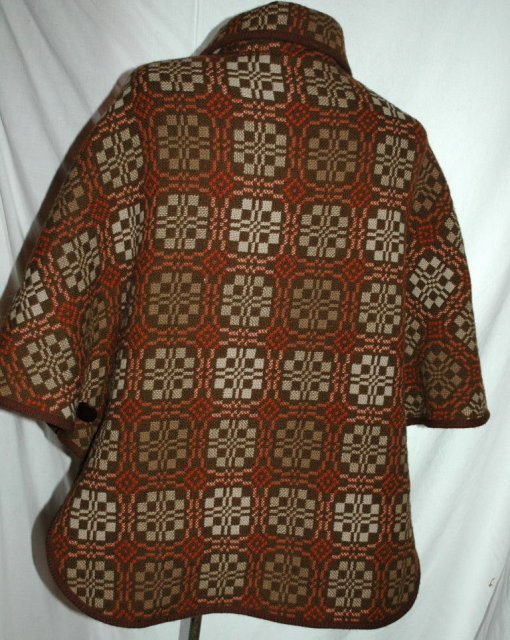 Vintage Retro Woven Wool Poncho Jacket Dillad Coracle (Corugl Clothes)
