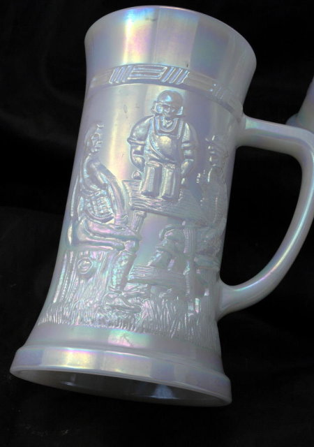 4 Vintage Federal Glass Co. Opalescent Glass Beer Steins Oktoberfest
