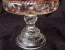 King's Crown, Ruby Flash  Thumbprint pattern Compote  Tiffin Glass 1950's