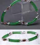 Chrysoprase & Garnet Sterling Links Bracelet