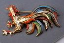 Rooster Spain Damascene Enamel Vintage Pin Brooch