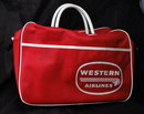 Vintage Western Airlines Indian Head Travel Tote Bag   Aviation  RARE  **PRICE REDUCED!**