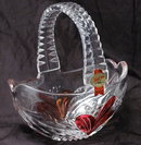 Anna Huitte Bleikristall  Handcrafted Cut Lead Crystal Basket with Ruby Flash