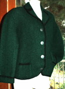 Vintage Thick Boiled Wool Bolero Jacket Green /Black with Pewter Buttons