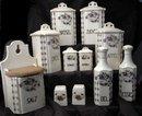 11 Pc Canister Set Purple Violets with Salt Box Old German Porcelain