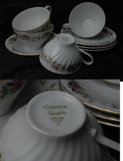 Set of 4 Tea Cups with Saucers : Creative Regency Rose FINE CHINA Japan