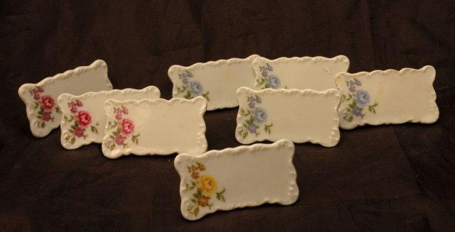 8 Vintage Porcelain Place Card Stands