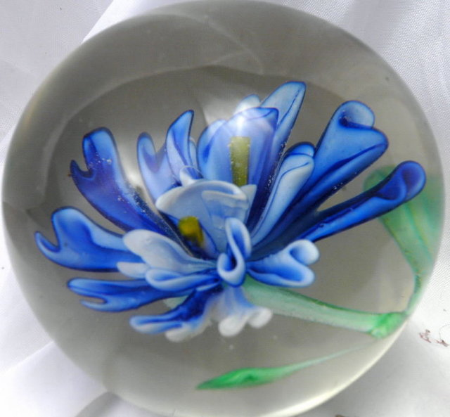 Beautiful Blue Flower Glass Paperweight