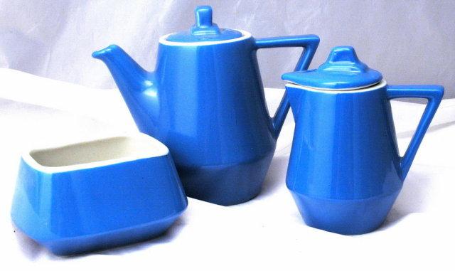 Hall China Blue White Railroad Dinning Car Coffee, Tea Service,Set