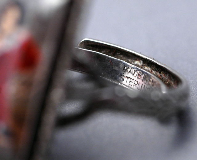 Sterling Silver Ring with Handpainted Miniature Portrait  - Sir Thomas Lawrence  Painting RED BOY