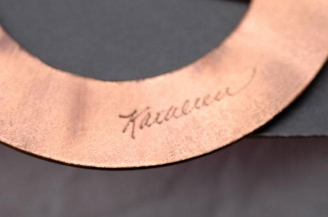 Signed Enamel on Copper Belt Buckle / Sash Buckle  Hand crafted
