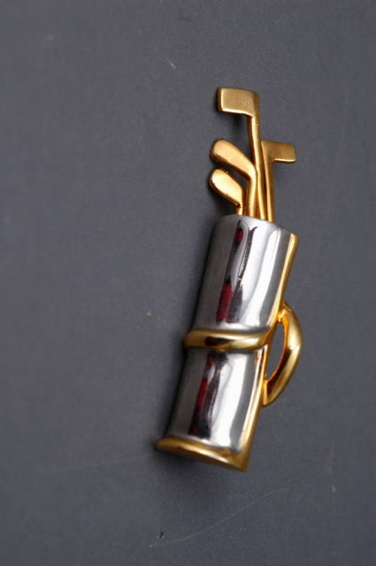 Golf Bag Pin Brooch by Navika USA, Silver & Gold Gilt