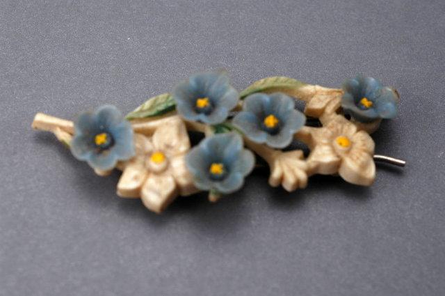 Vintage Plastic Flowered Hair Barrette Forget- Me- Nots