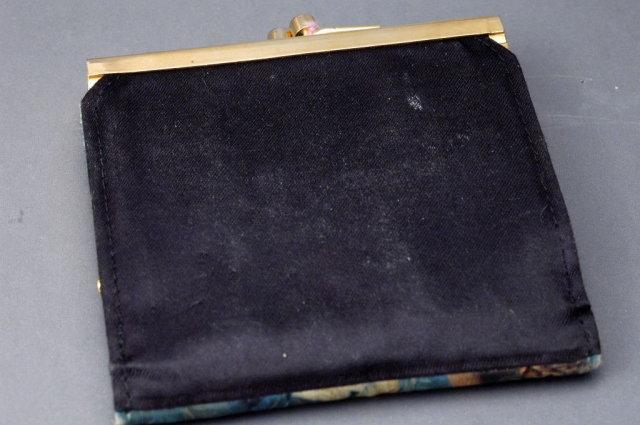 Vintage Italian Silk Wallet Coin Purse Hand Painted  Portrait on Silk